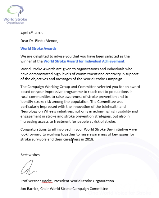 World Stoke Award from World Stroke Organization