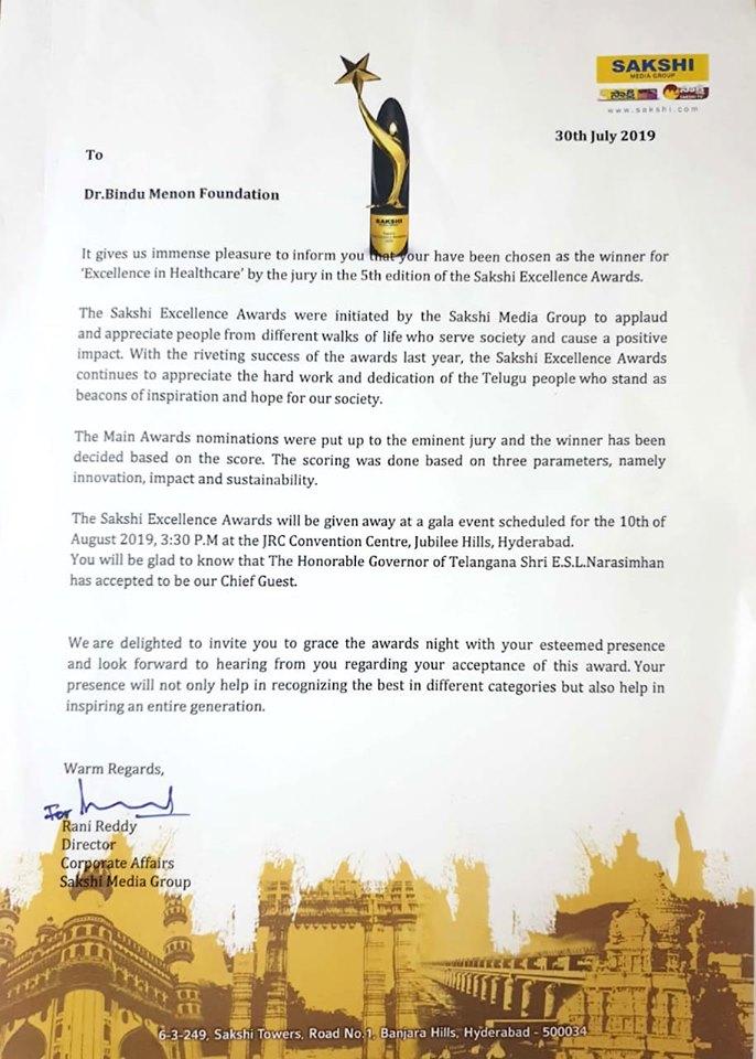 డాక్టర్ బిందు మీనన్ కి 'సాక్షి ఎక్సలెన్స్ అవార్డు'