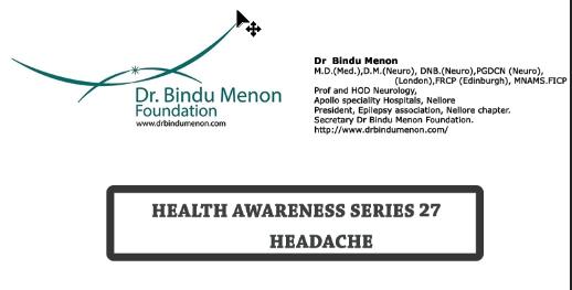 Health Awareness Series 27 -Headache by Dr Bindu Menon