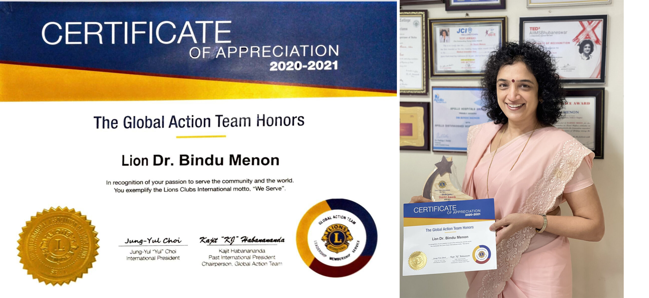 Received the ions club International President's Appreciation certificate and Governors Appreciation