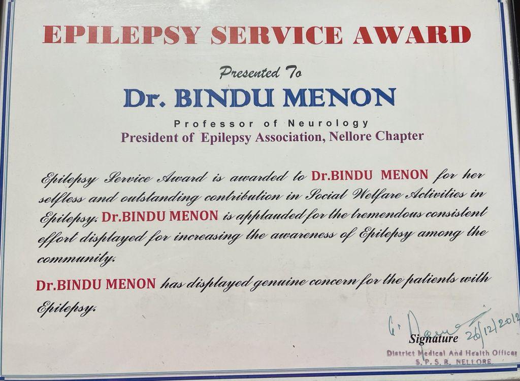 Epilepsy service award