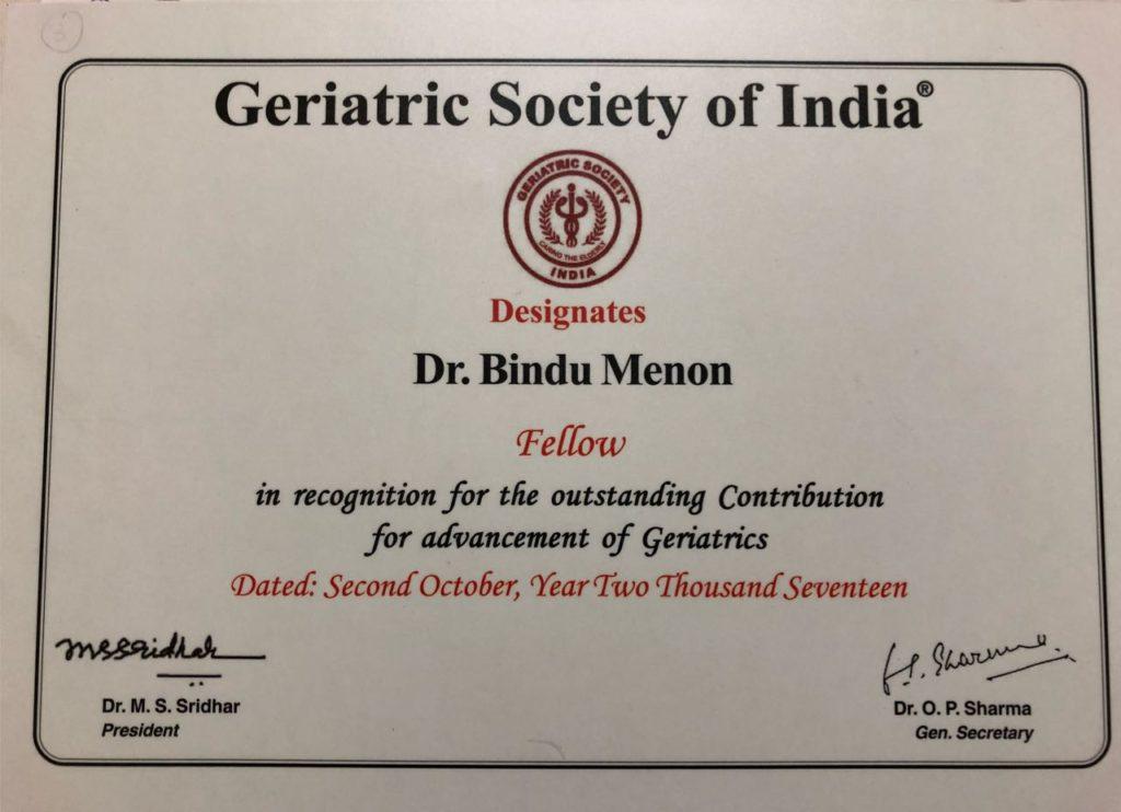Fellowship of Geriatric society of India
