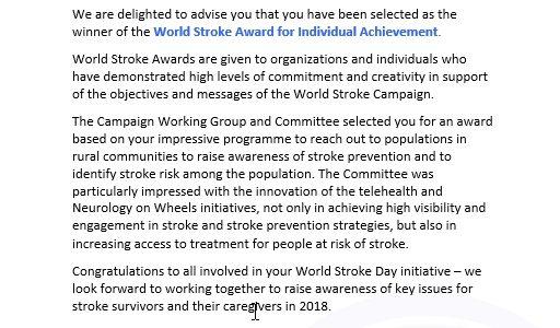 World Stroke Award from World Stroke Organization