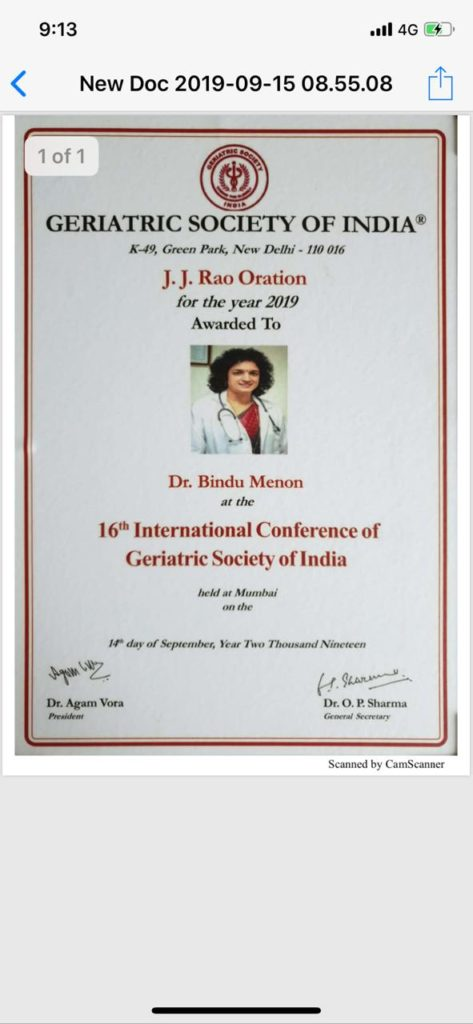 J.J Rao oration for the year 2019 by Geriatric Society of India