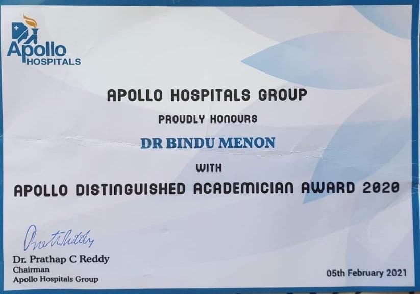 Apollo Distinguished academician award 2020