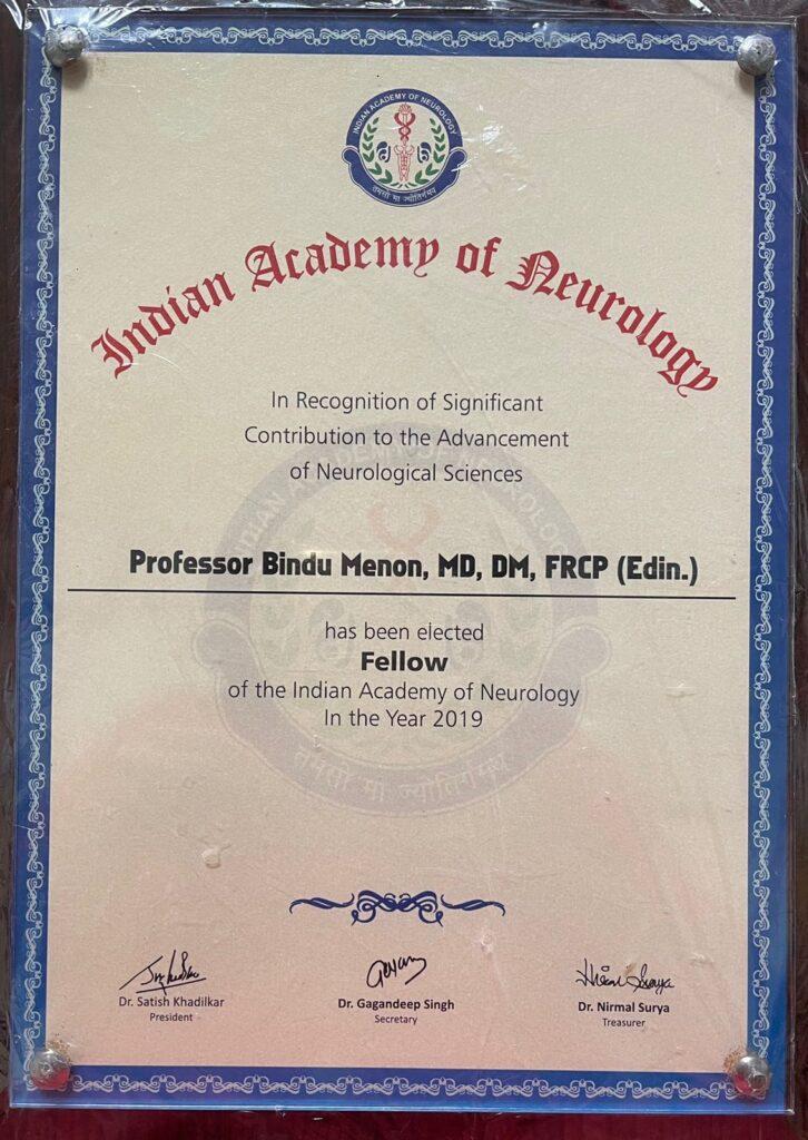 Fellow of Indian Academy of Neurology 2019